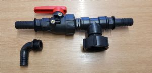 60 x 6 mm IBC Adaptor Tee piece with Valve to 25 mm Hose Tails